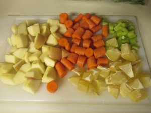 Fruits and veggies, all chopped up.